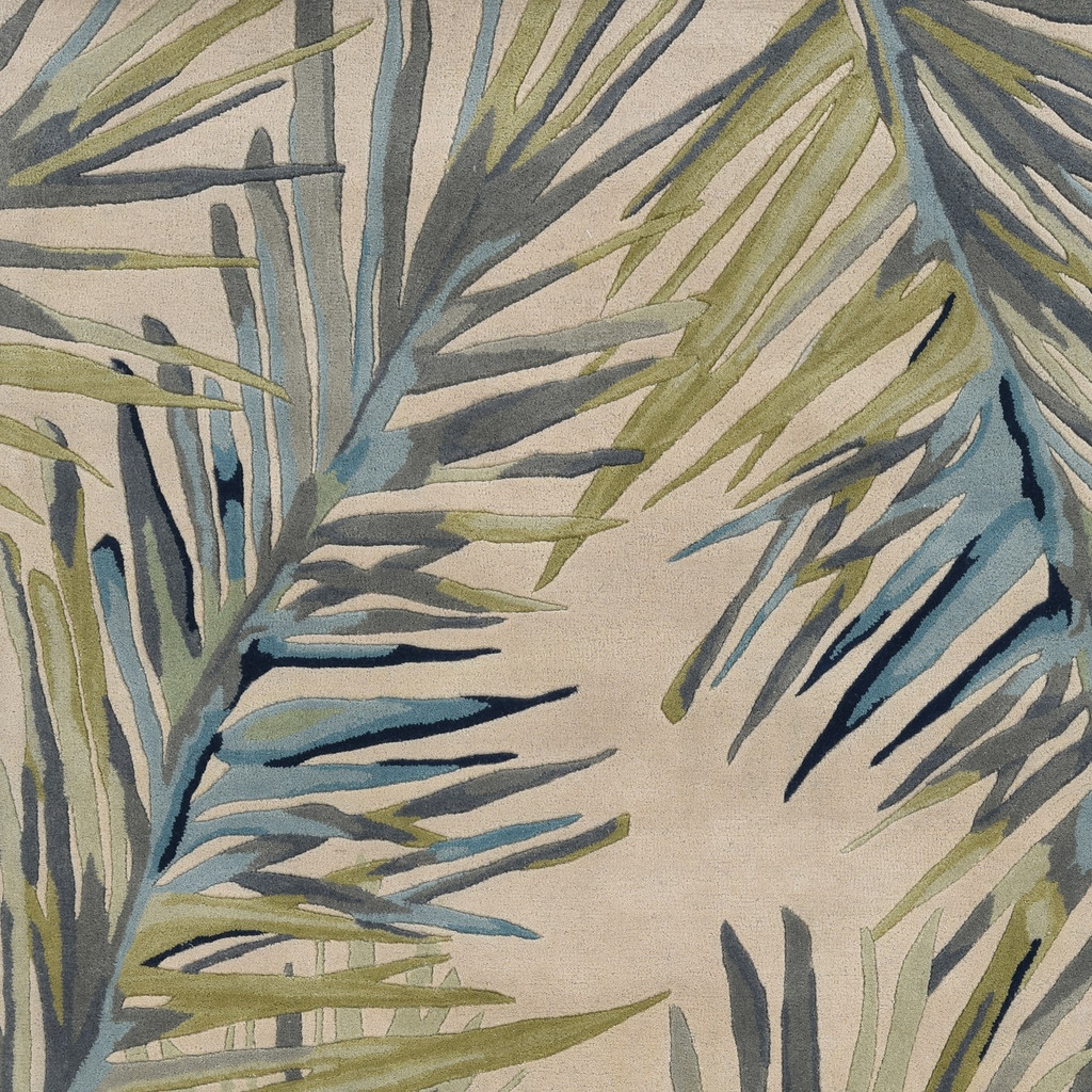 Ivory Montego Palm Tropical Wool Area Rug close up