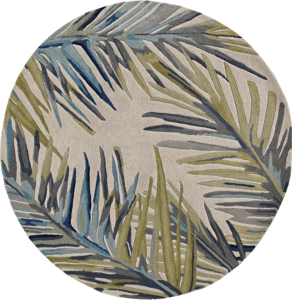 Ivory Montego Palm Tropical Wool Area Rug round