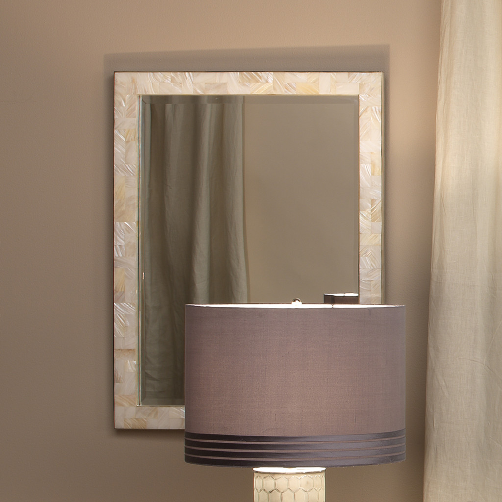 Sea Chic Mirror in Mother of Pearl room view