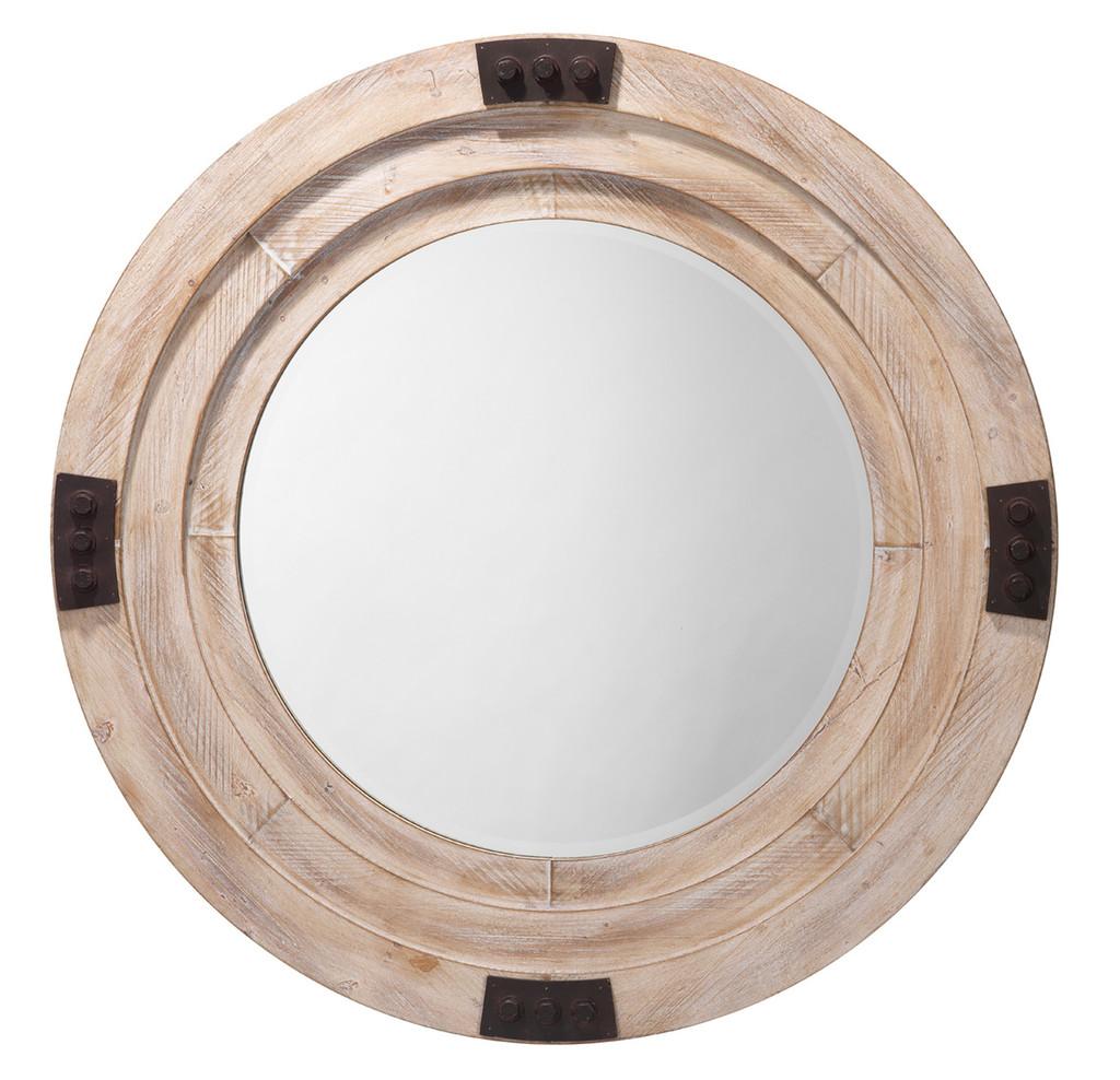 Fremont Round Mirror in White Washed Wood