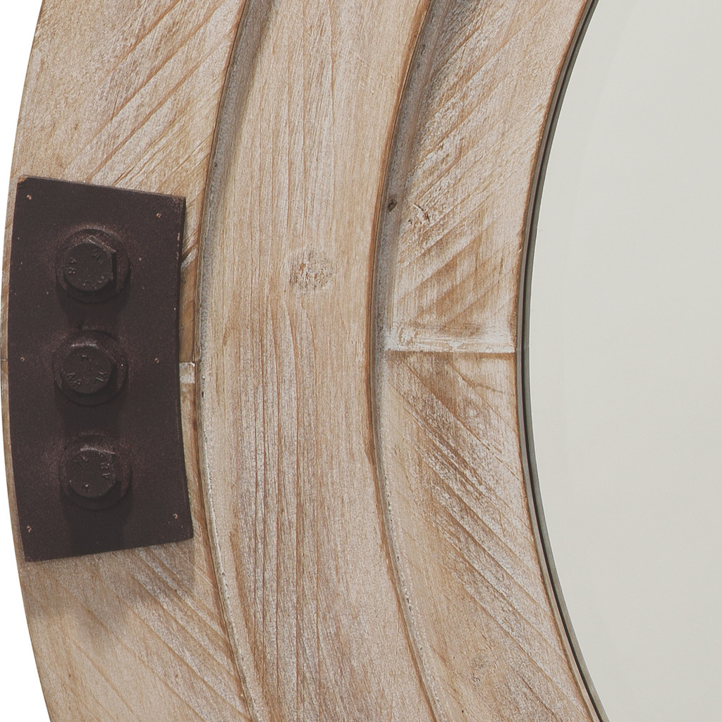Fremont Round Mirror in White Washed Wood close up image