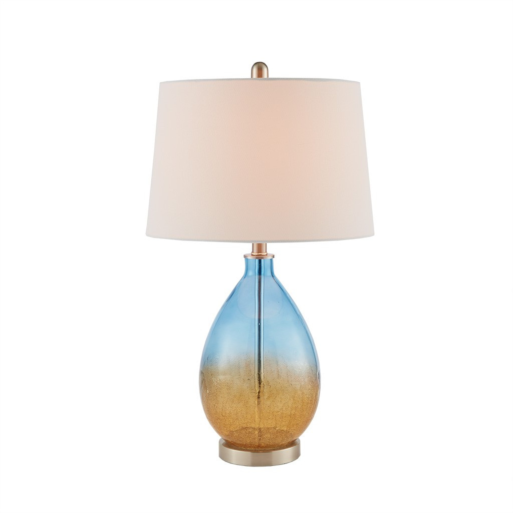 Ocean Sunset Glass Table Lamps - lit