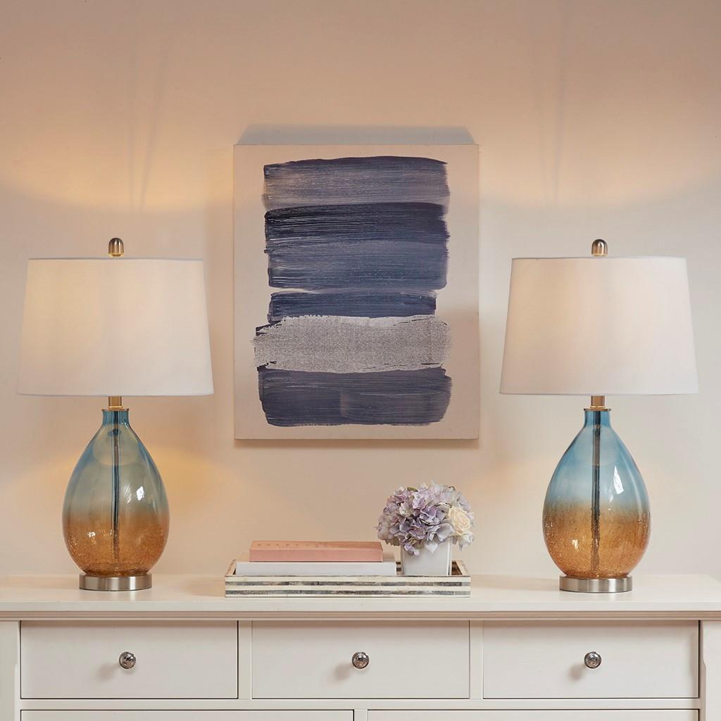 Ocean Sunset Glass Table Lamps - Set of 2 room scene lit