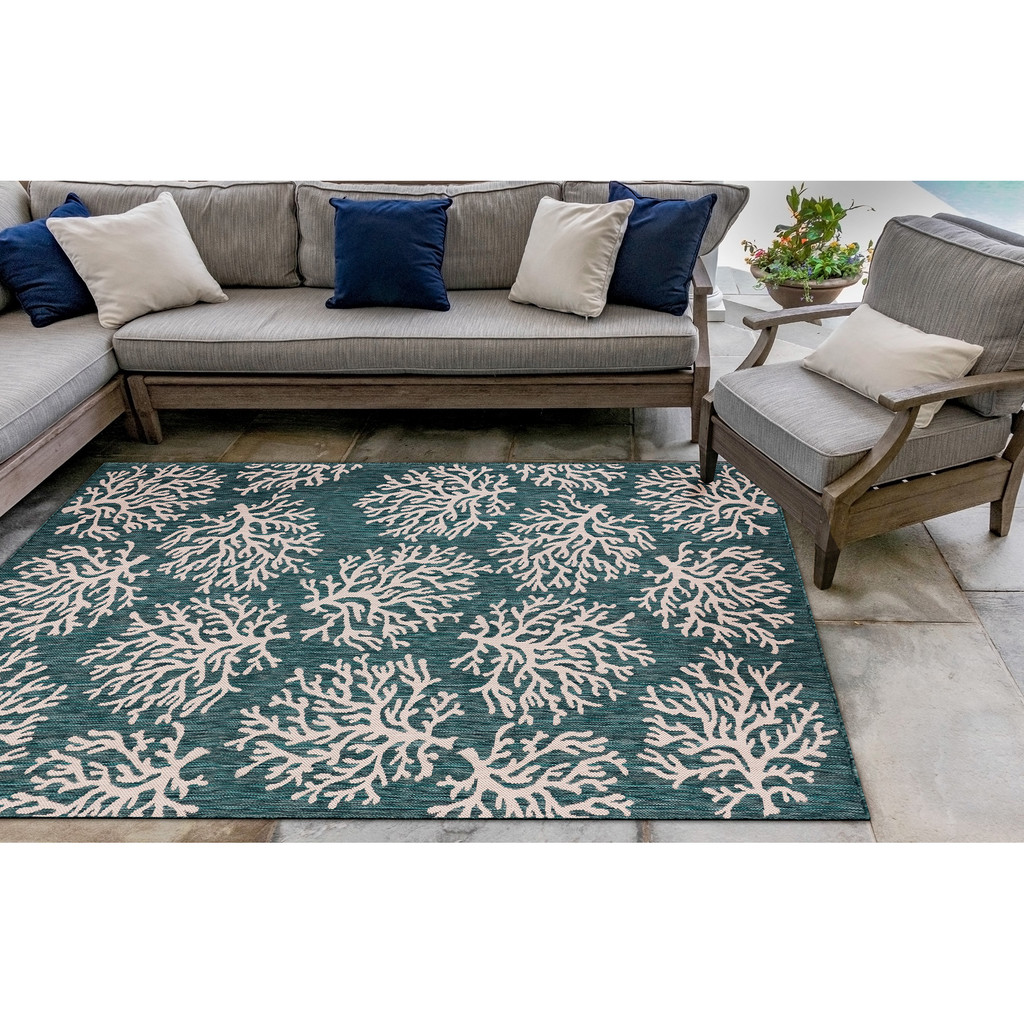 Coral Branch Teal Carmel Rug room view