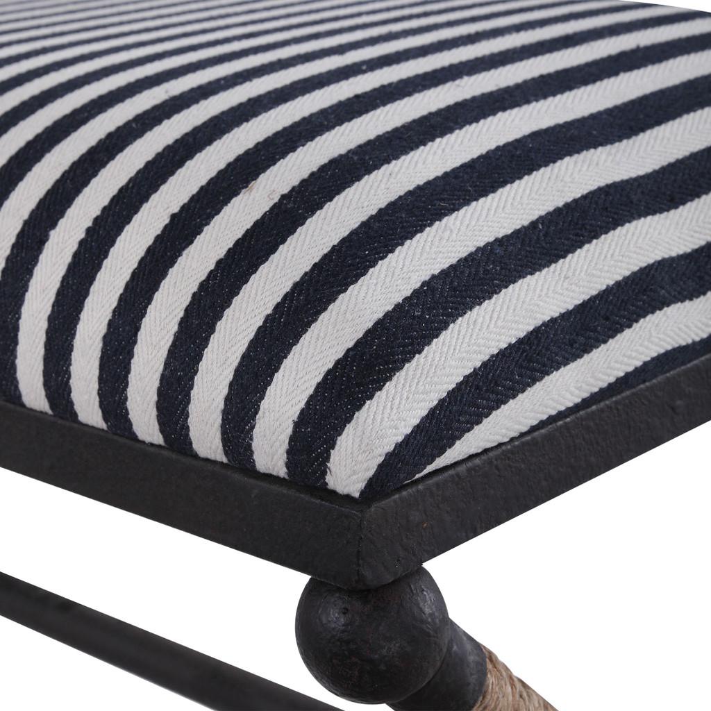 Nautical Braddock Striped Bench close up top
