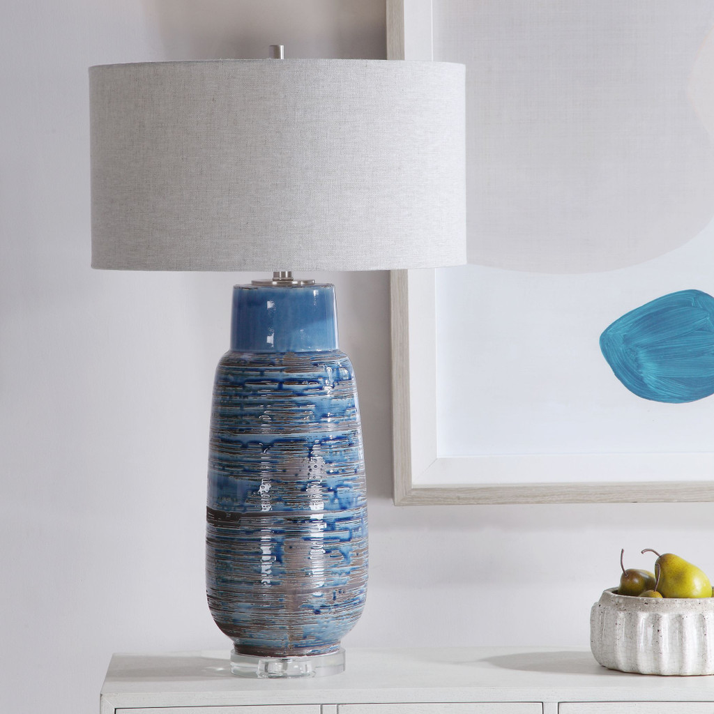 Straits of Magellan Blue Table Lamp room view lit