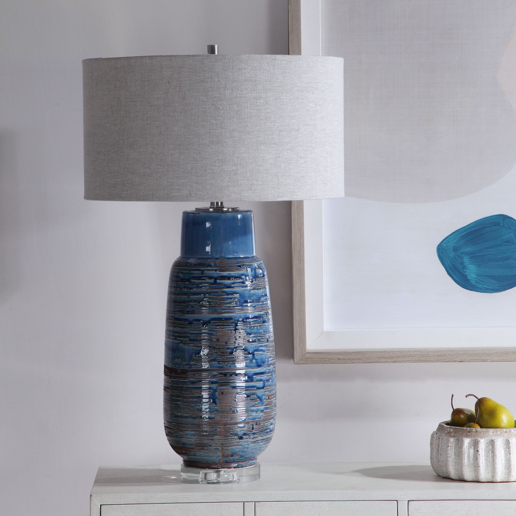 Straits of Magellan Blue Table Lamp room view non-lit