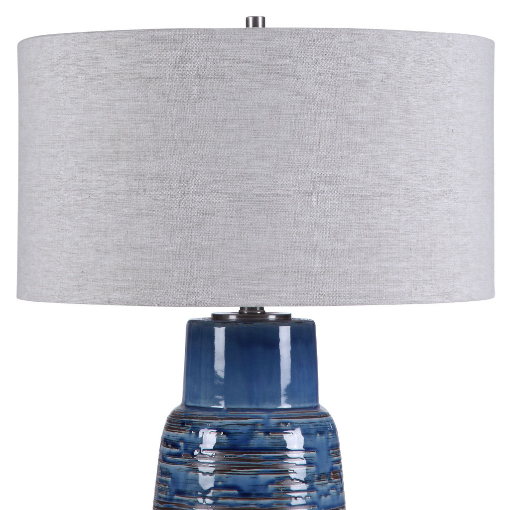 Straits of Magellan Blue Table Lamp close up top