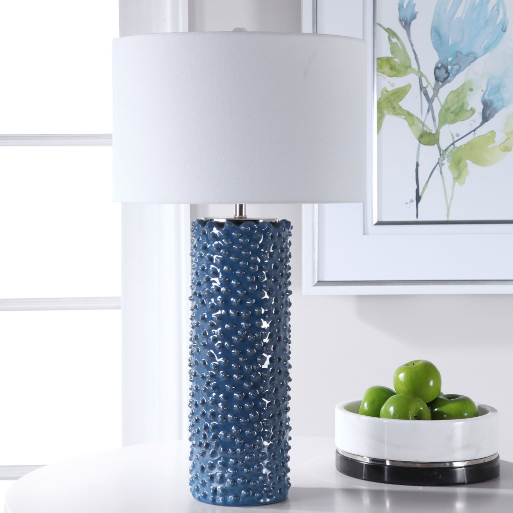 Fiji Blue Table Lamp light off room view