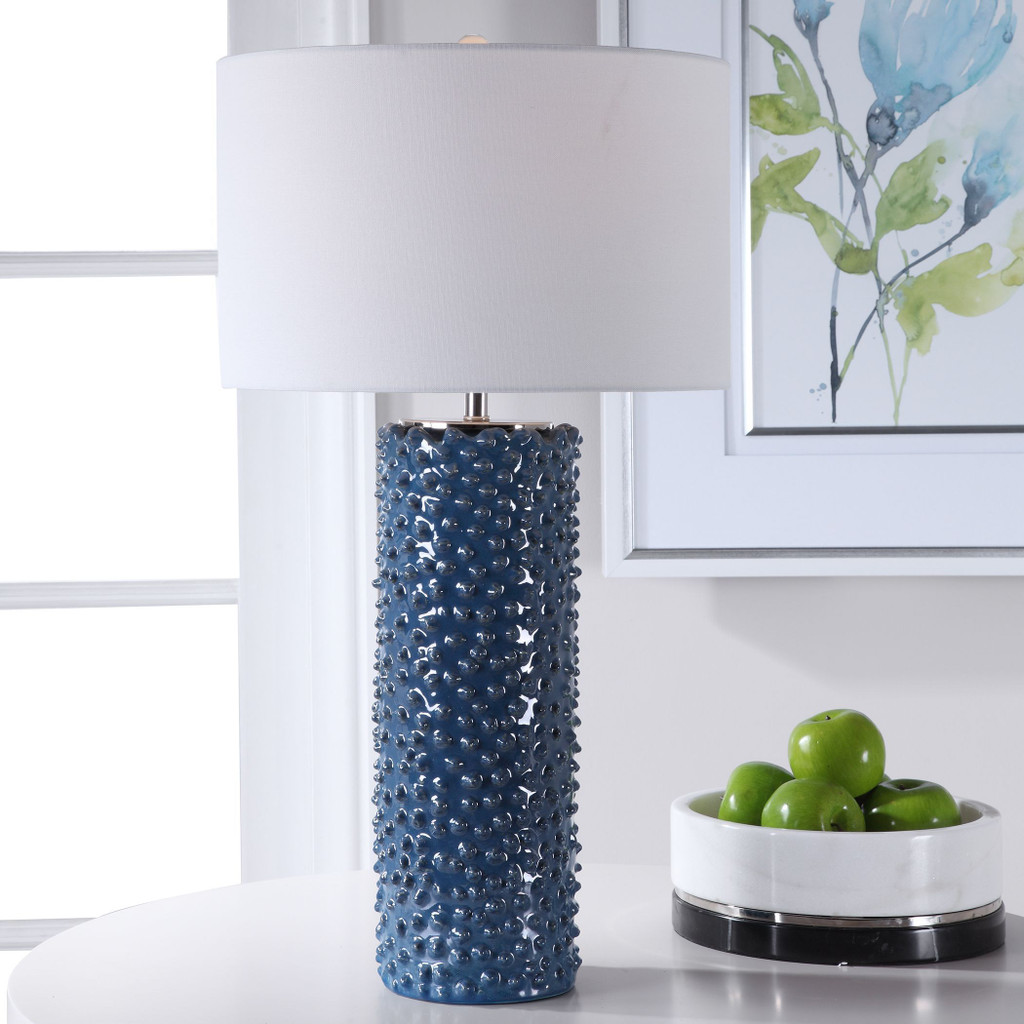 Fiji Blue Table Lamp light on room view