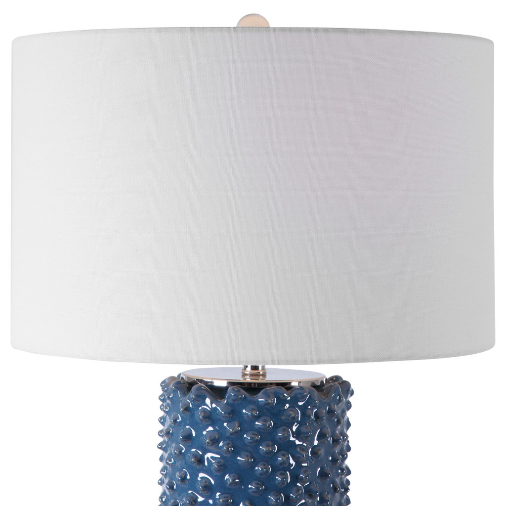 Fiji Blue Table Lamp close up top and base