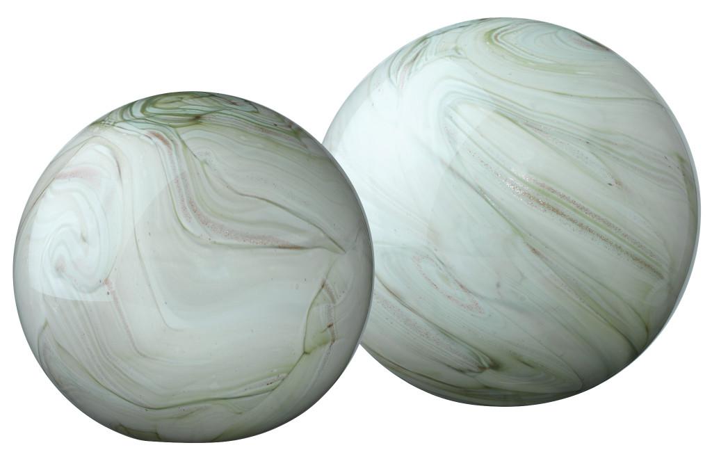Glass Float Balls in Sage Swirl Glass