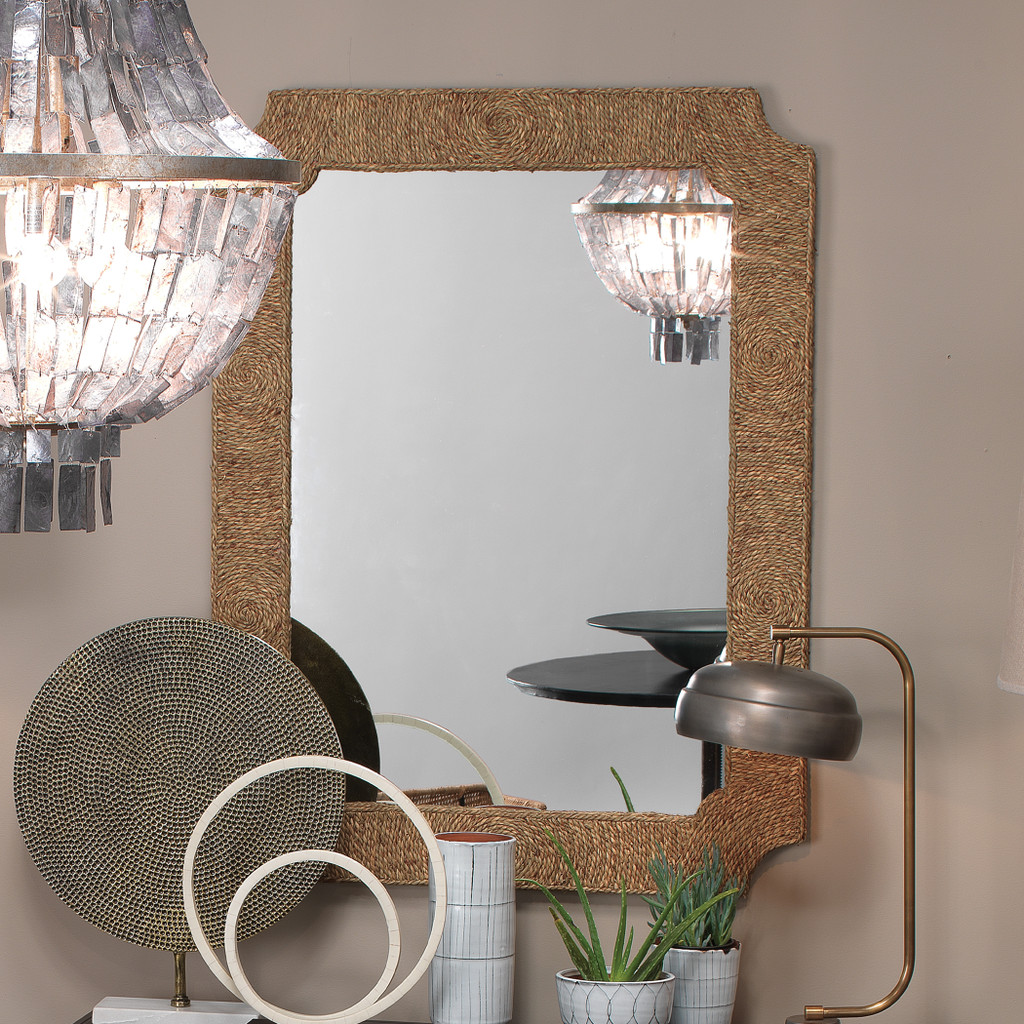 Marina Mirror in Natural Seagrass wall view