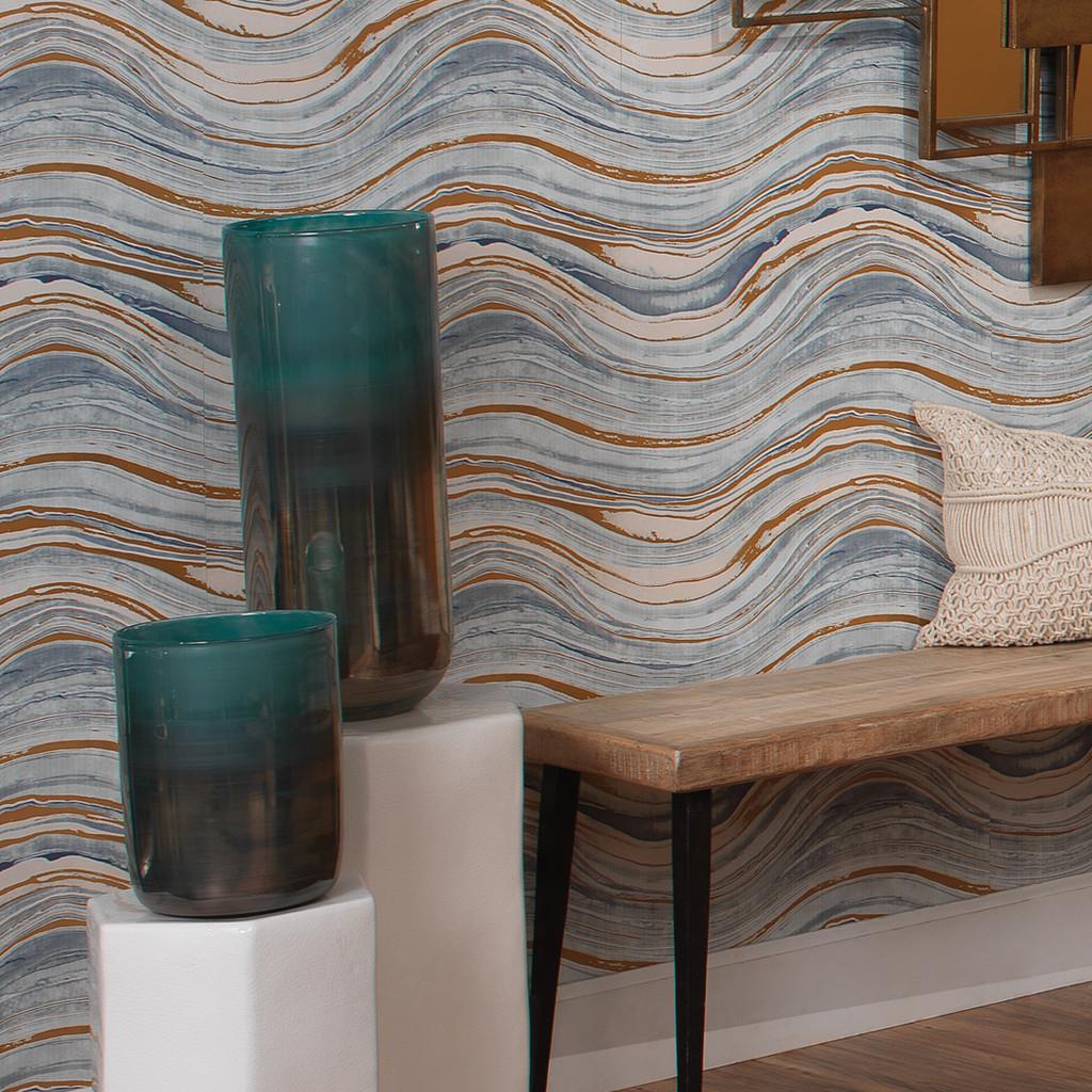 Medium Vapor Vase in Metallic Aqua with large size