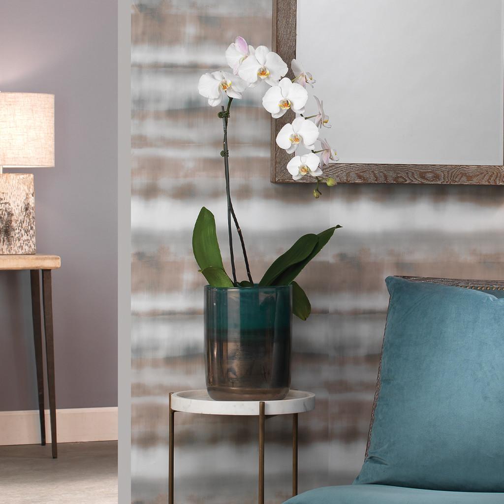 Medium Vapor Vase in Metallic Aqua room view