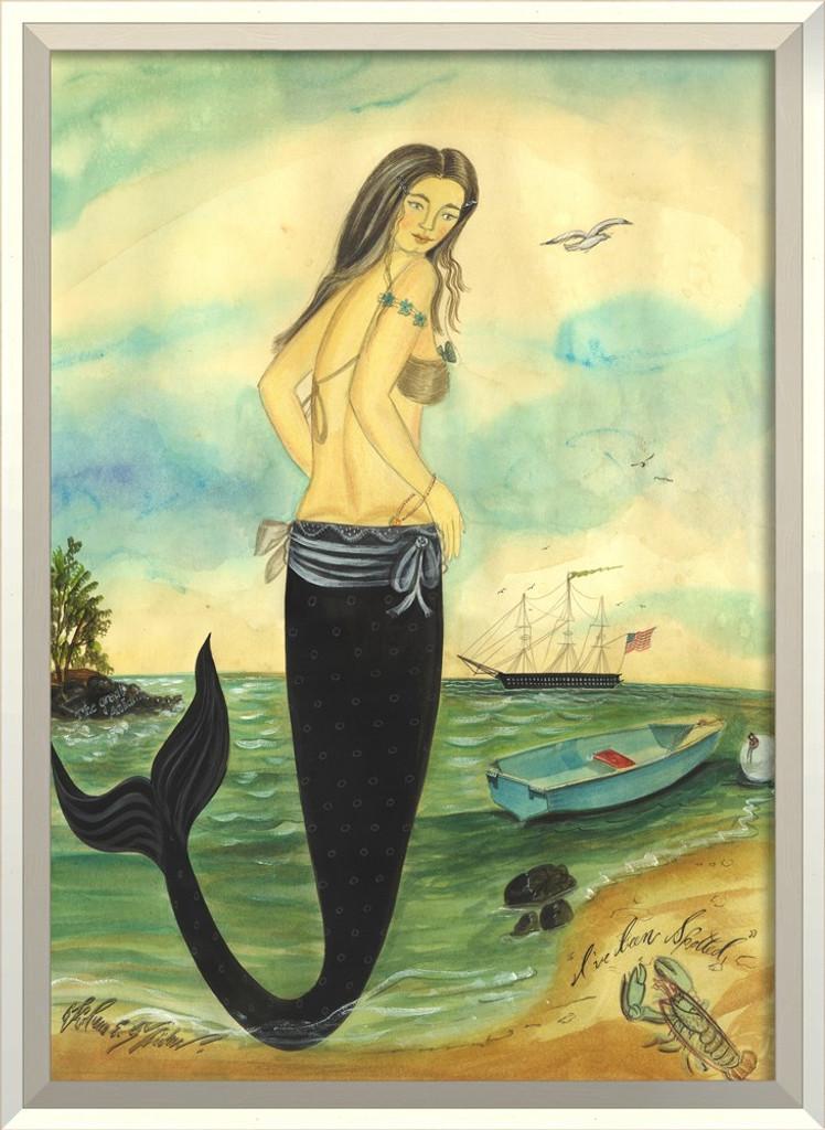 I've Been Spotted White Framed Mermaid Art