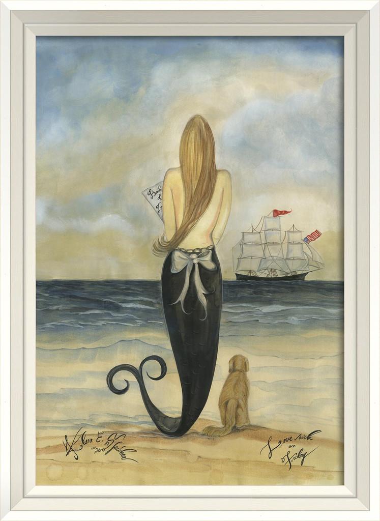 Lovesick on Friday Mermaid Wall Art - White Frame