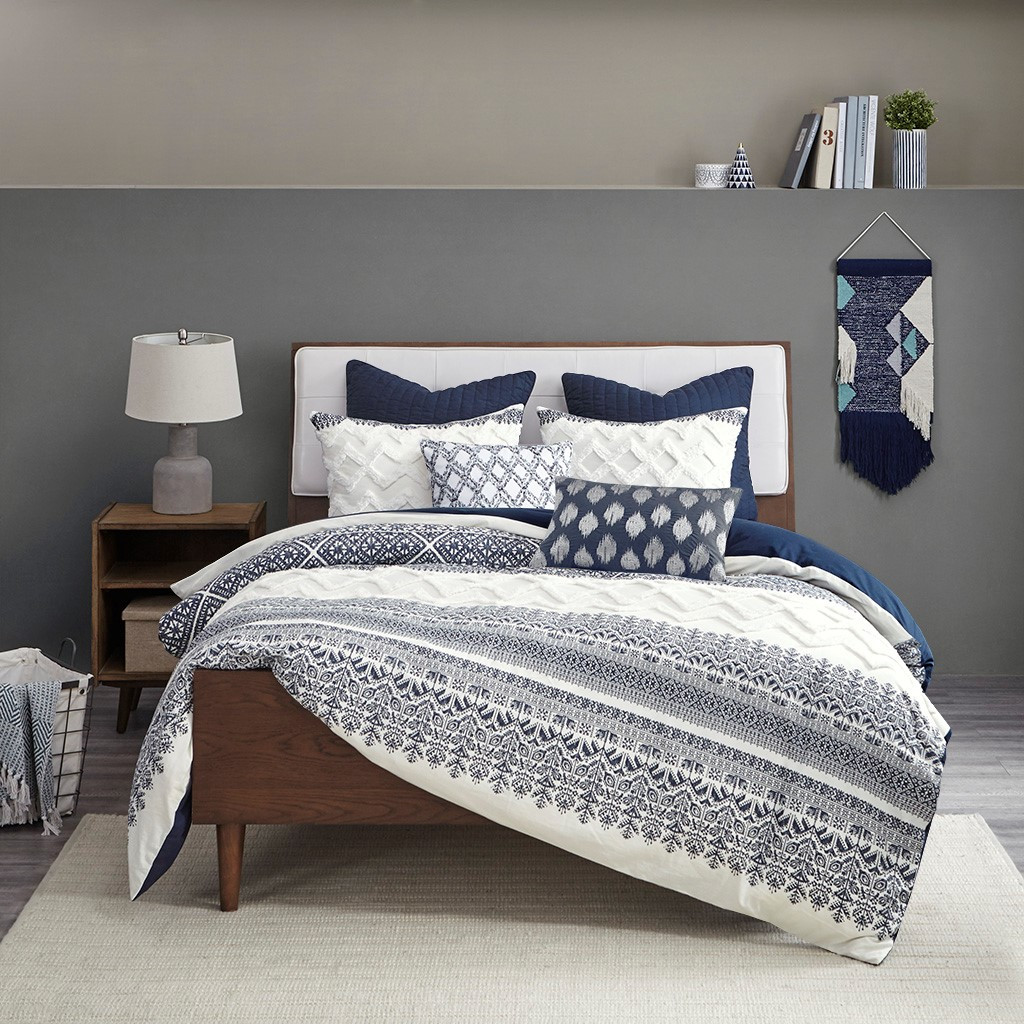 Malibu Boho Navy and White Printed Duvet Set - Queen