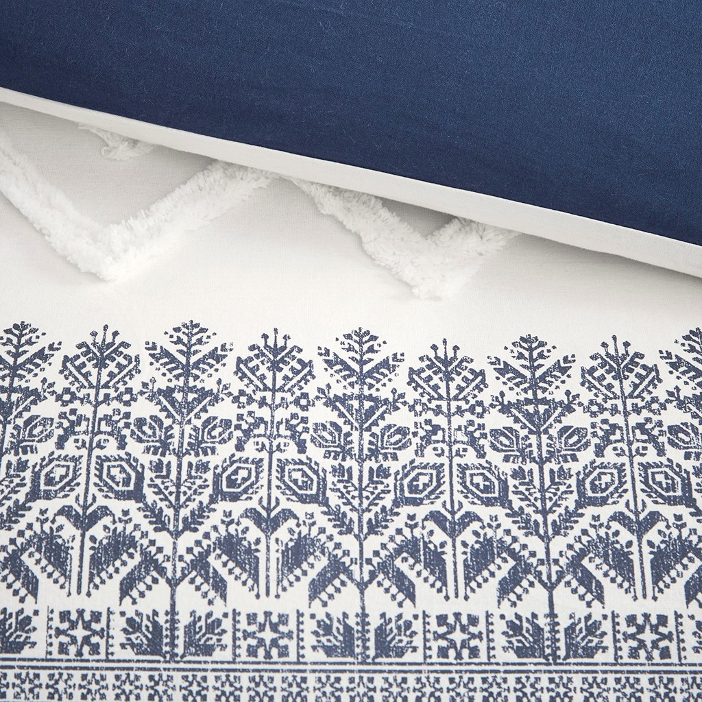 Malibu Boho Navy and White Printed Duvet Set - Queen close up duvet