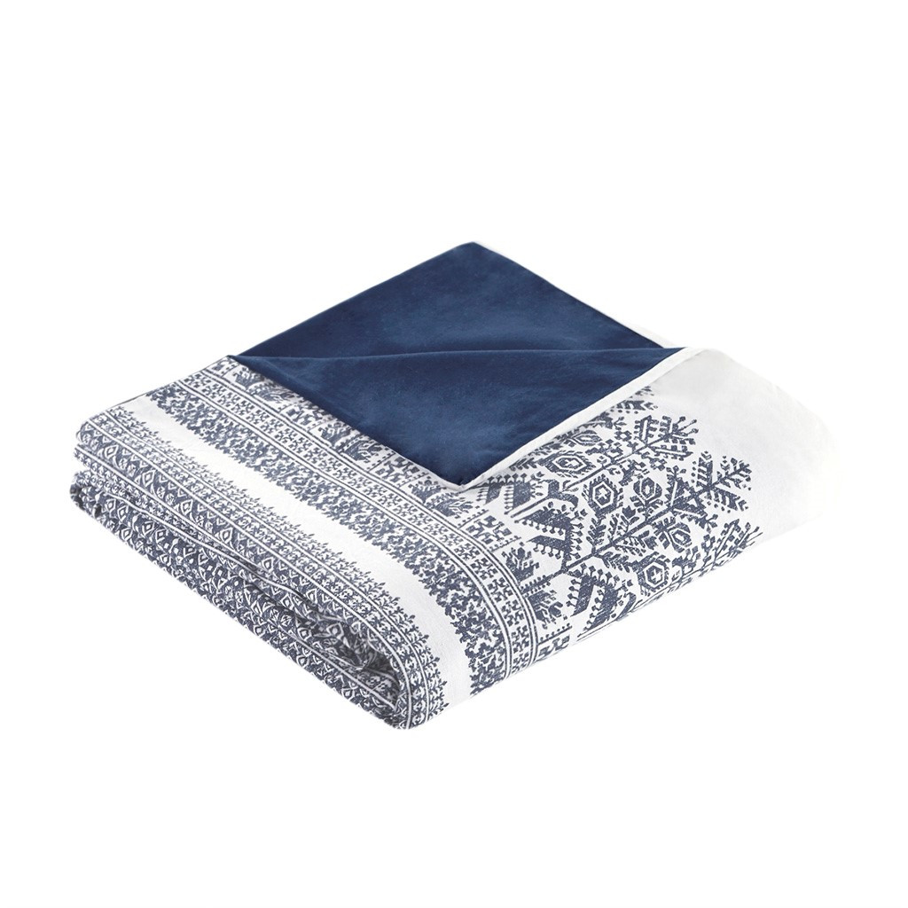 Malibu Boho Navy and White Printed Duvet Set - folded duvet