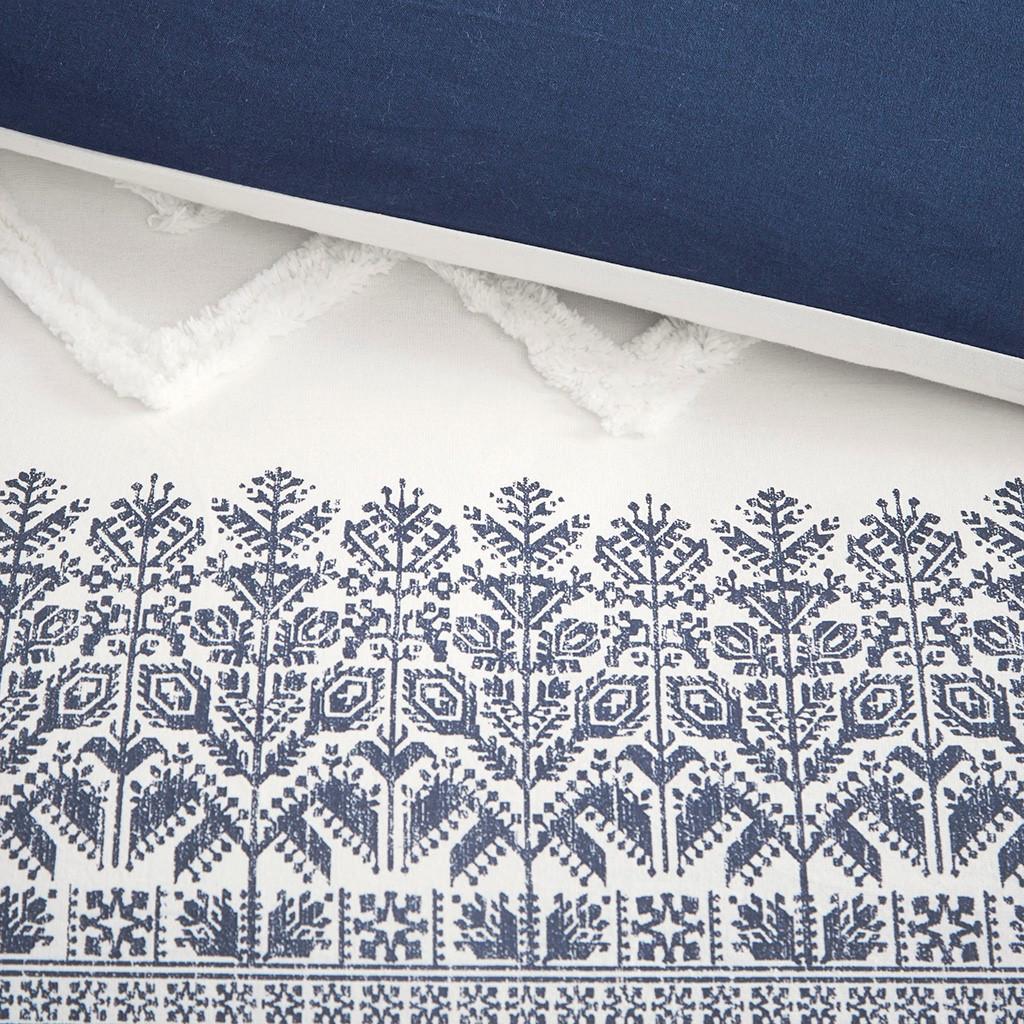 Malibu Boho Navy and White Printed Duvet Set - King close up duvet