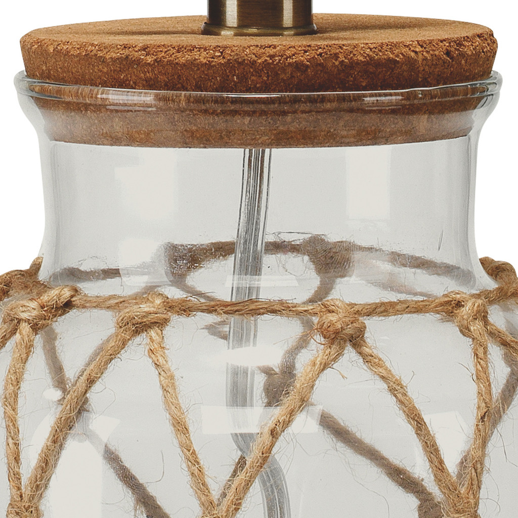 Maritime Rope Net Clear Glass Lamp close up top view