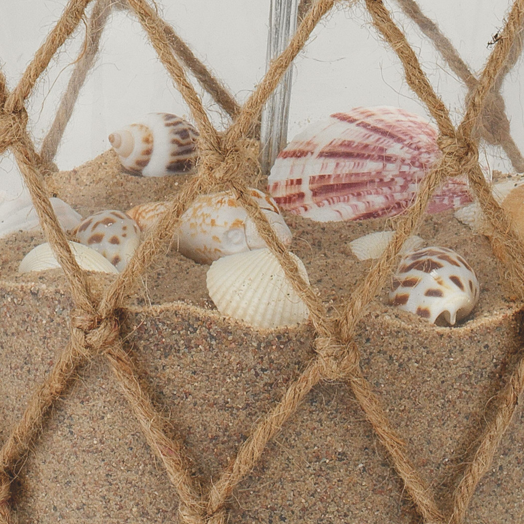 Maritime Rope Net Clear Glass Lamp with shells - NOT included