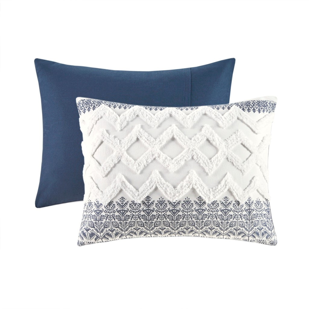 Malibu Boho Navy and White Comforter Set - sham details