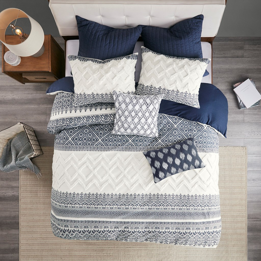 Malibu Boho Navy and White Comforter Set - Queen room view 2