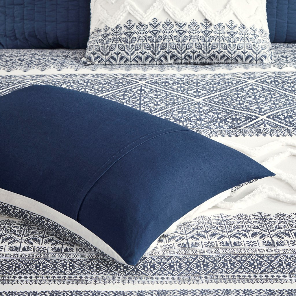 Malibu Boho Navy and White Comforter set details