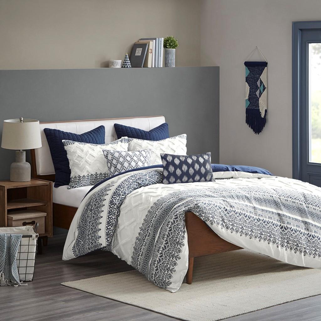 Malibu Boho Navy and White Comforter Set - King room view 1