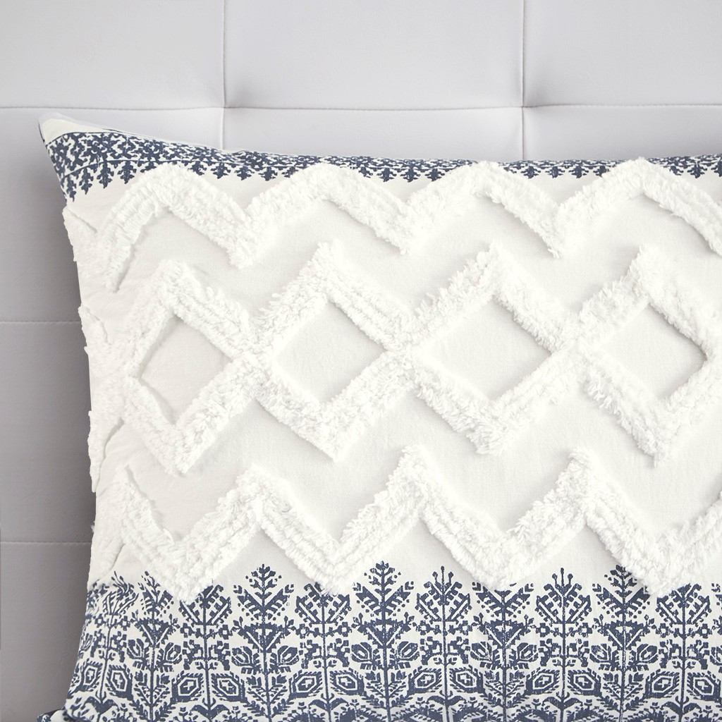 Malibu Boho Navy and White Comforter Set - King sham close up