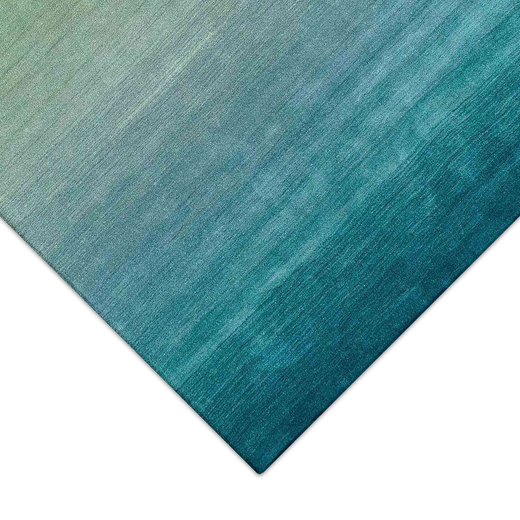 Arca Aqua Plush Wool Rug close up corner pattern
