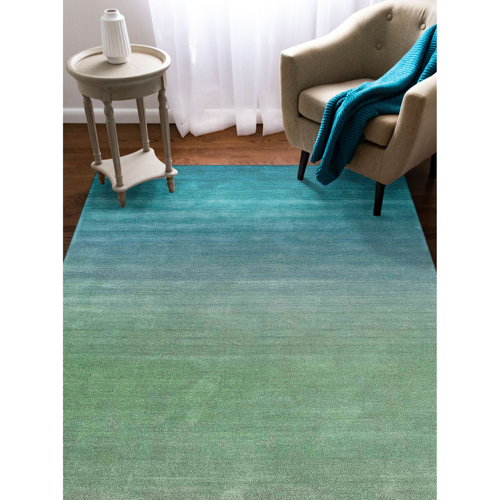 Arca Aqua Plush Wool Rug room view 1