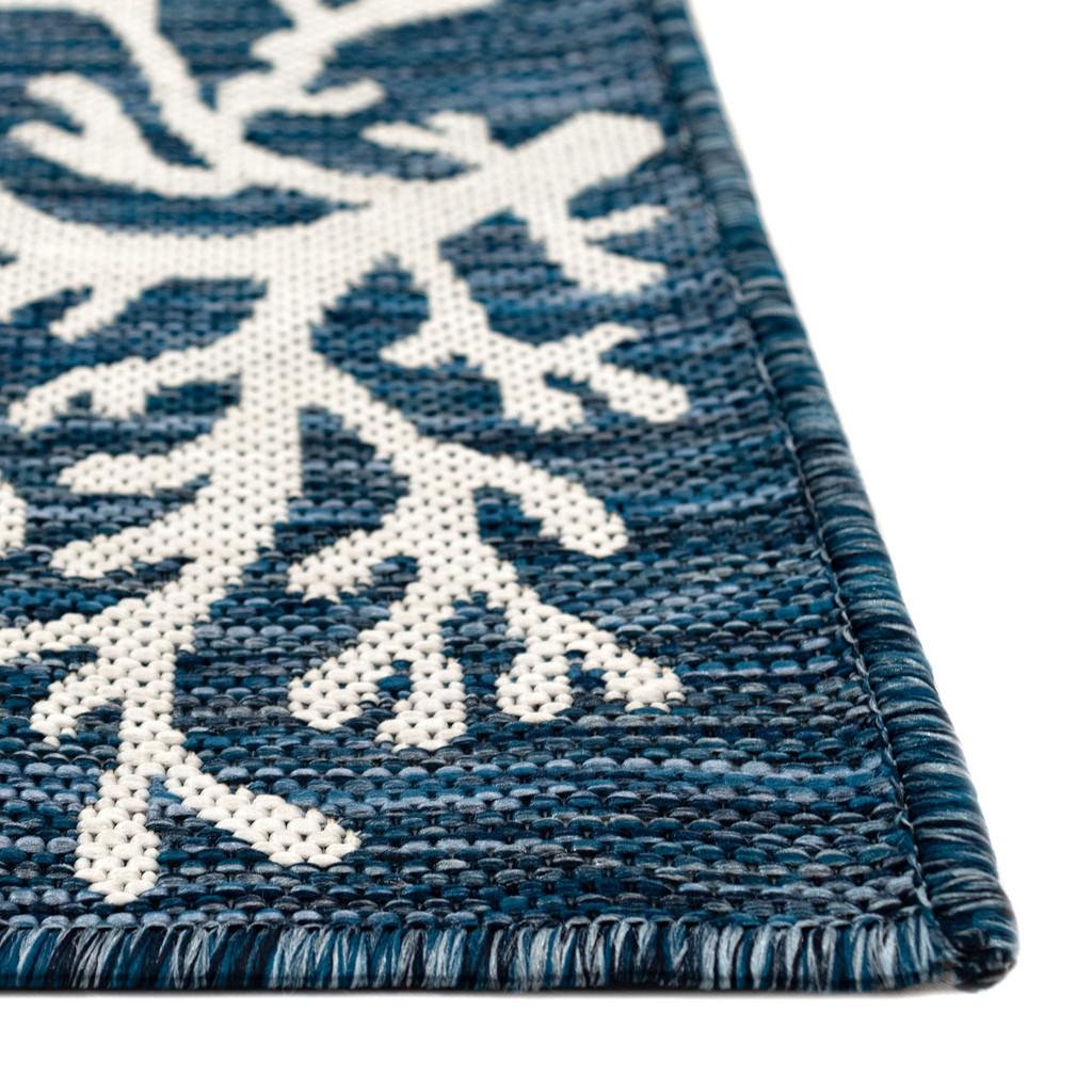 Coral Border Navy Blue Indoor-Outdoor Rug corner close up