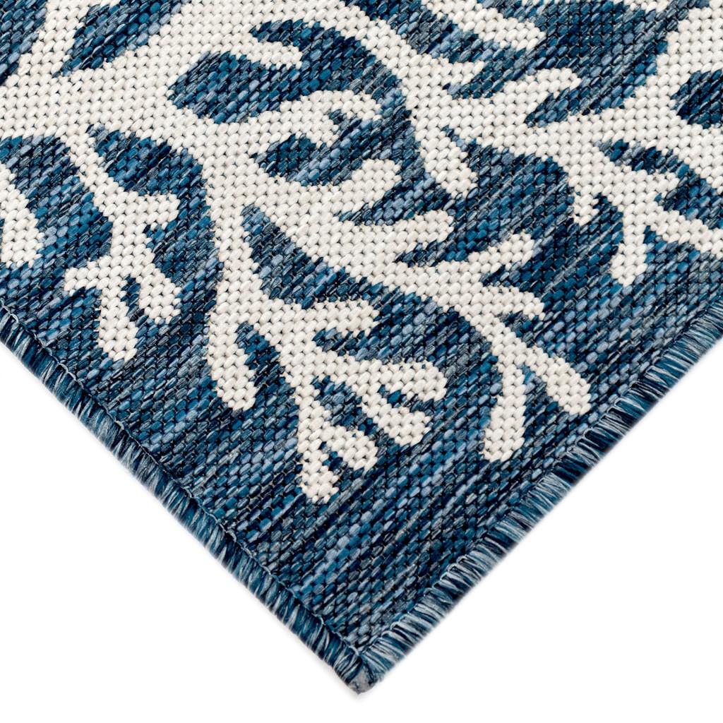 Coral Border Navy Blue Indoor-Outdoor Rug corner close up 2