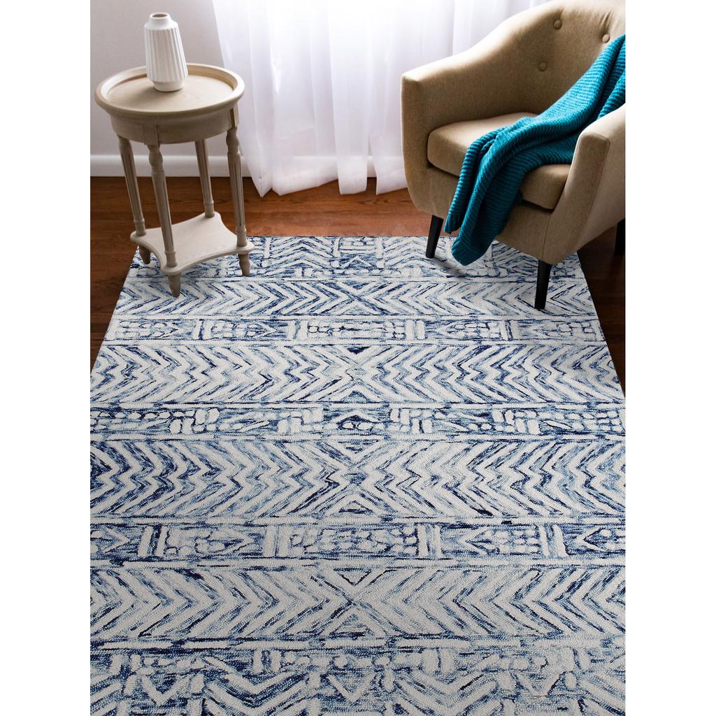 Boho Batik White and Blue Cyprus Rug room view 2