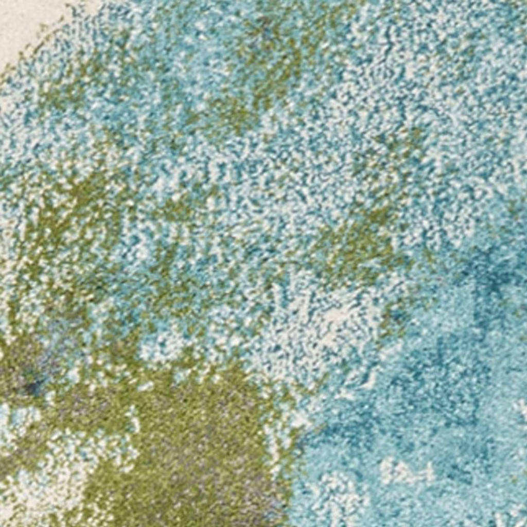 Turquoise Abstract Watercolors Rug close up 1