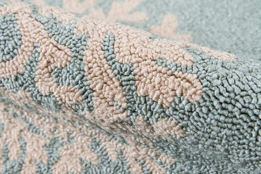 Blue and Ivory Coral Garden Area Rug close up