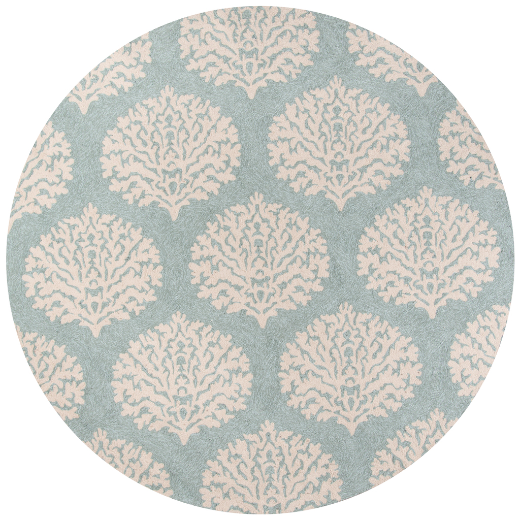 Blue and Ivory Coral Garden Area Rug round