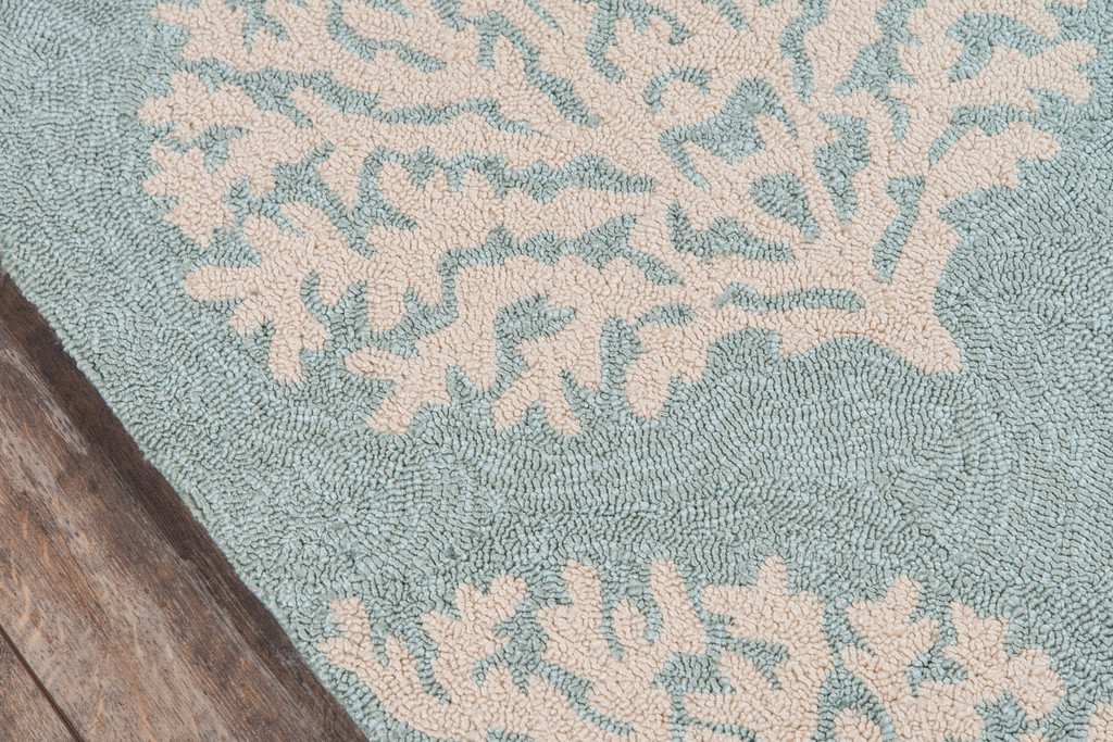 Blue and Ivory Coral Garden Area Rug edge