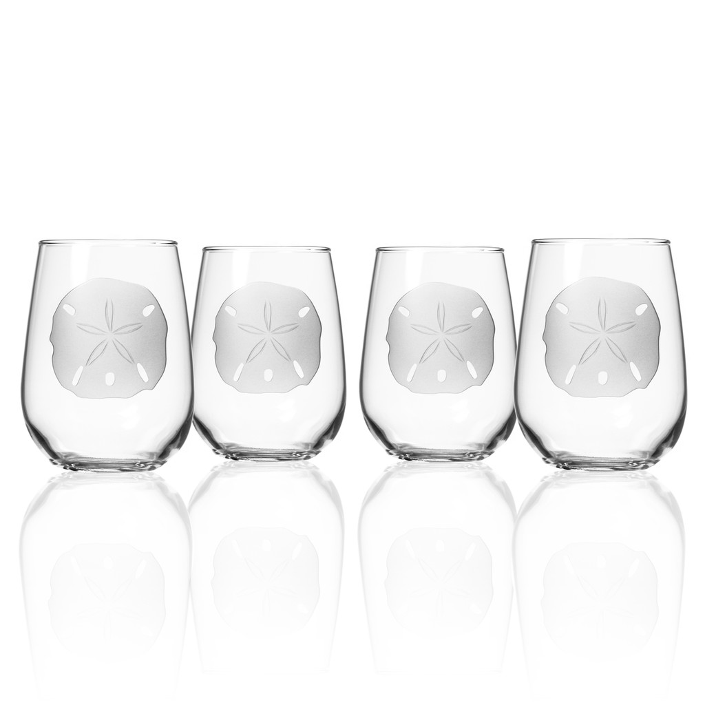 Sand Dollar Stemless Wine Tumblers - Set of 4