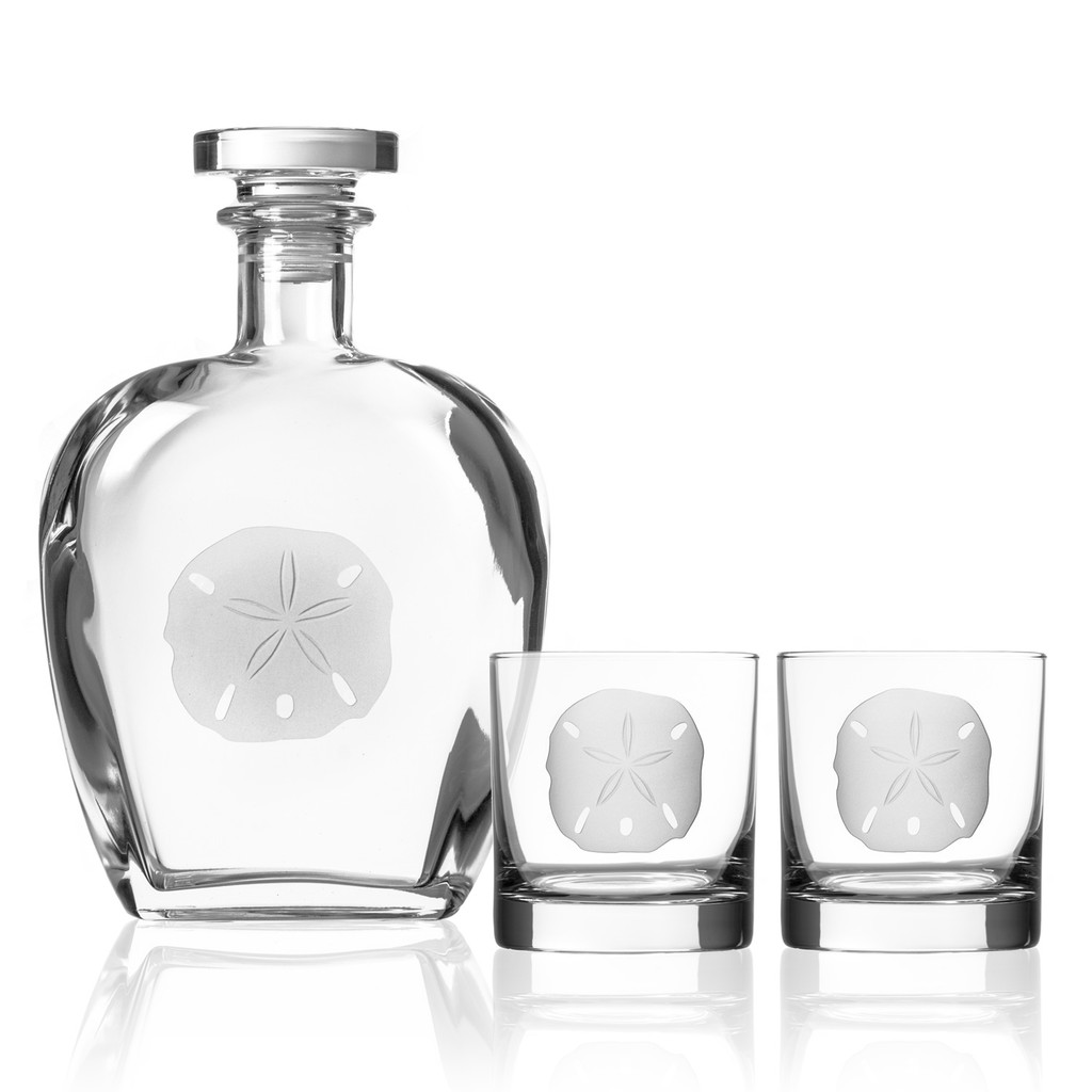 Sand Dollar Etched Glass Decanter with rocks glasses