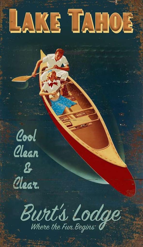 Lake Resort Canoe Custom Art Sign