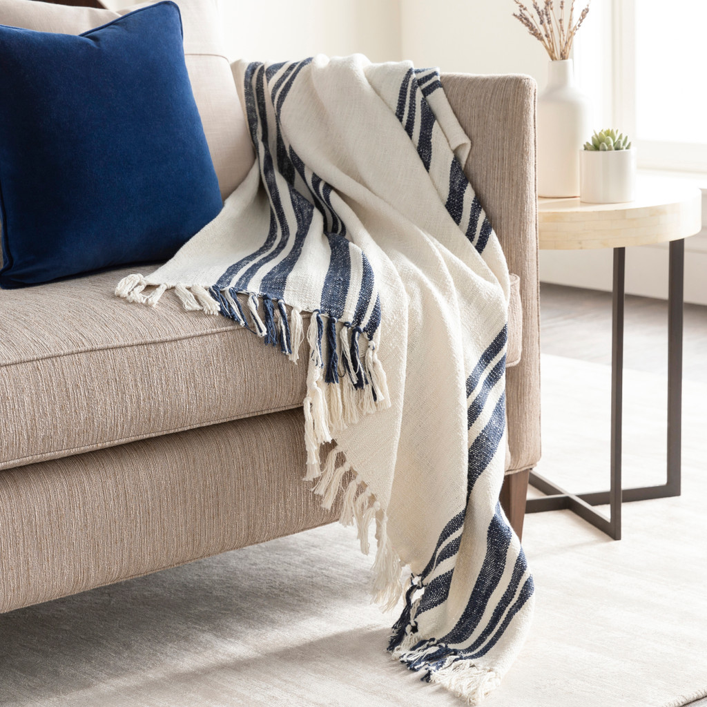 Portsmouth Striped Woven Cotton Throw room view