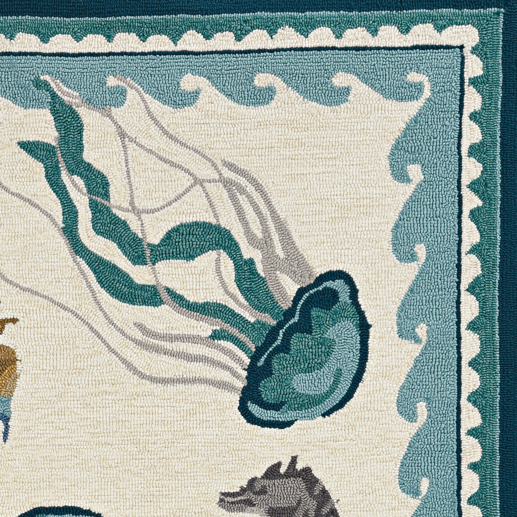 Harbor Teal Beach Life Indoor-Outdoor Rug  corner close up
