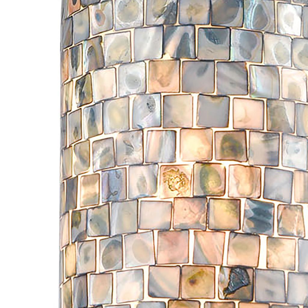 Capri Grey Pendant in Satin Nickel with Capiz Shells close up