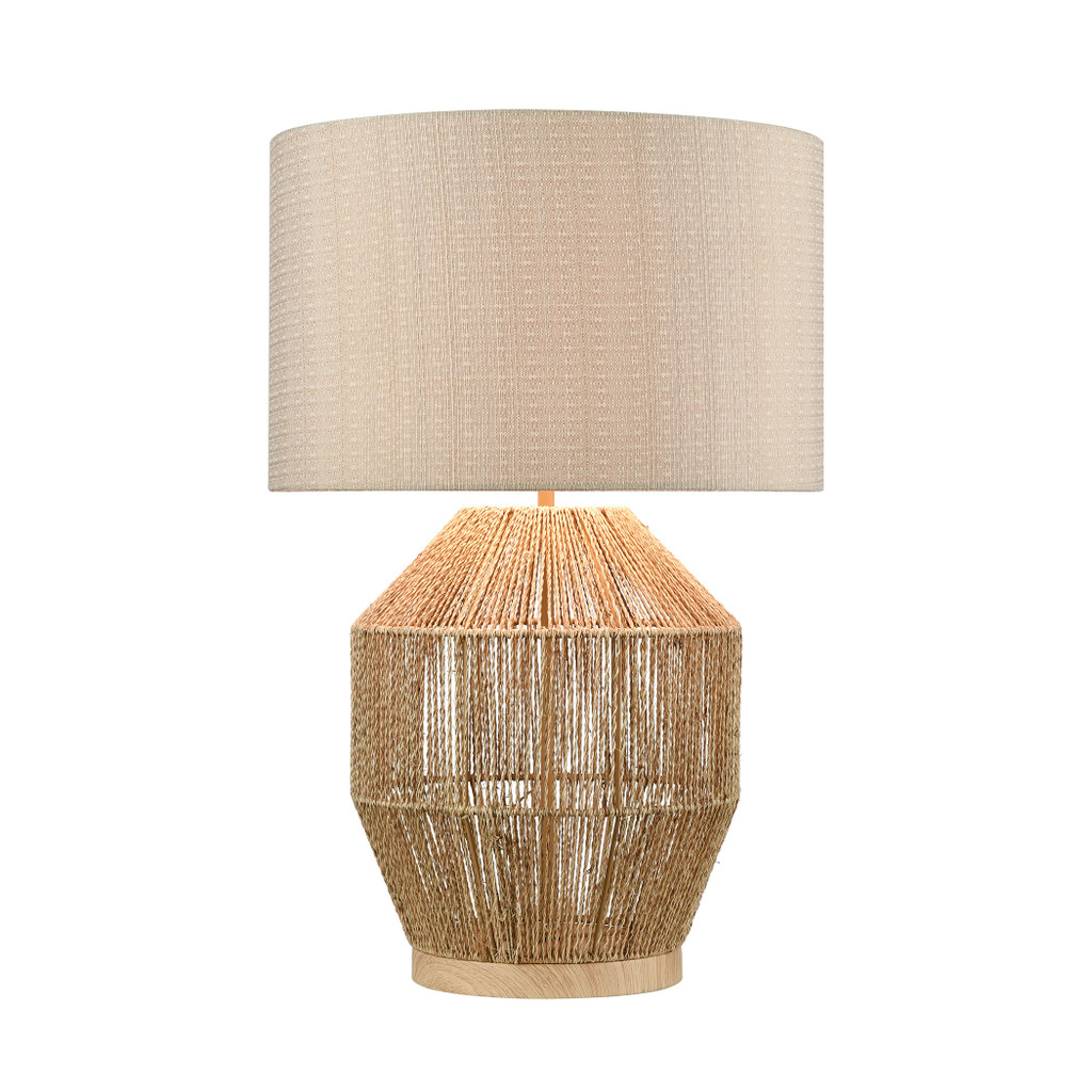 Corsair Table Lamp in Natural Finish light on