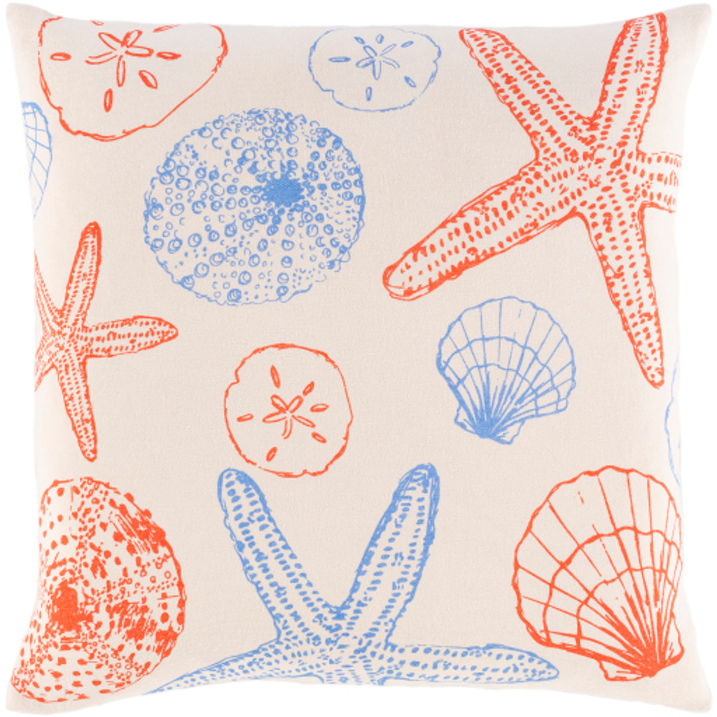 Red and Blue Shells Printed Pillow
