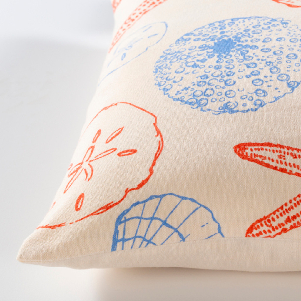 Red and Blue Shells Printed Pillow side view